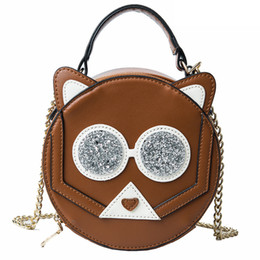 48f1710e7102 Cute Animals Round Shaped Handbag Cat Pattern Messenger Bags Women s  crossbody Bag PU Leather Shoulder Bag tote sac a main bolsa