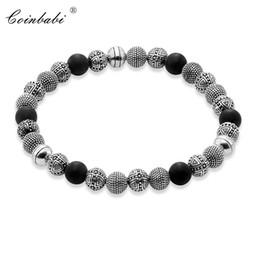 0661727e4763 Pulseras Cuentas de plata y plata esterlina de obsidiana 925 para hombres  Estilo de regalo de moda Rebelde del corazón TS Pulseras masculinas