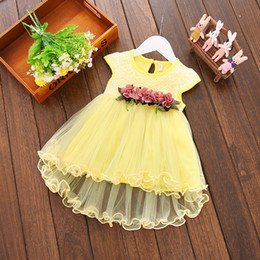 Wholesale Cute Baby Girl Party Dresses - 2018 Infant Kids Baby Girl clothes Summer Floral print Geometry round neck sleeveless cotton casual Princess Party Dresses one pieces