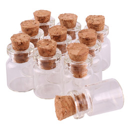 Wholesale Wholesale Tiny Glass Bottle Vials - 100pcs 12*18*6mm 0.5ml Mini Glass Wishing Bottles Tiny Jars Vials With Cork Stopper