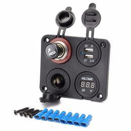 2019 caricabatteria per auto mini plug plug eu Caricatore adattatore per porte USB Dual Car di Freeshipping + Voltmetro + Presa accendisigari con accendino