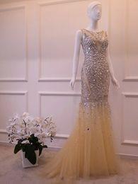diamante vermelho vestidos de baile Desconto Luxo Sereia Vestidos de noite Pesados Prego Manual Talão Vestidos de Baile Champanhe Vermelho - Novo Diamante Halter Ombros Vestidos de Festa HY029