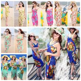 Wholesale Girls Beach Cover - Women Sunflower Bikini Cover Up Chiffon Travel Beach Dress Bikini Swimwear Sarong Sunscreen Beach dress KKA4085