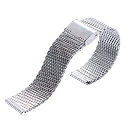 Wholesale 22mm Strap - 20 22mm Watch Band Silver Stainless Steel Men Web Mesh Clock Strap Women Push Botton Hidden Bracelet High Quality
