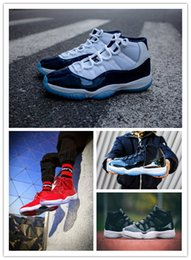 Wholesale Mens Shoes Dhl - Real Carbon Fiber Free DHL Retro 11s Gym Red Chicago Midnight Navy 72-10 UNC Space Jam 45 Bred Mens Basketball Shoes Athletic Sport Sneakers