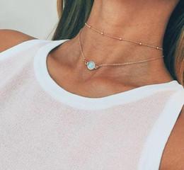 Collar de mujer bonita online-Bonito Cristal Natural Colgante Gargantilla Collar de Múltiples capas Boho Aleación de Oro Cadena Corta Collares Joyería de Las Mujeres K2329
