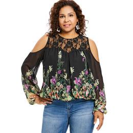6e2920e328d Wipalo Plus Size 5XL Cold Shoulder Floral Print Lace Panel Blouse Women  Long Sleeve O Neck See Thru Blouses Big Size Blusas