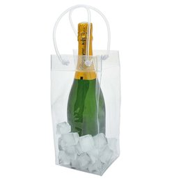 Wholesale Cool Eco Gifts - clear Wine Beer Champagne Bucket Drink Ice Bag Bottle Cooler Chiller Foldable Carrier Ice Bag Favor Gift Festival Bags