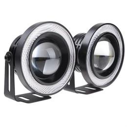 Angelo occhi nebbia online-2 pezzi fendinebbia in alluminio per auto angel eyes 64 mm 76 mm 89 mm 30 W pannocchia LED DRL luci di guida fendinebbia fendinebbia 12V stile auto