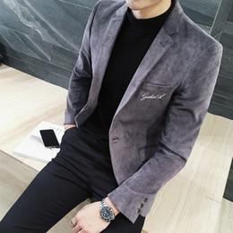 2019 giacca a coste marrone Mens Blazer di velluto a coste 2018 Autunno Inverno 3XL Solid Grey Green Brown monopetto casual Giacche per uomo Blazer Pattern giacca a coste marrone economici