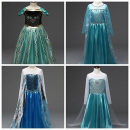 Wholesale mermaid mid length dress - baby girls costum skirts children girl cosplay long dresses long sleeve with snowflake queen dress up kids party pricess 5 different styles