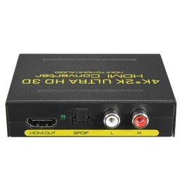 Wholesale Hdmi Spdif - New 4Kx2K Audio Converter Extract Splitter HDMI to HDMI SPDIF RCA Stereo L R Analog Audio Converter With US EU Power Adapter