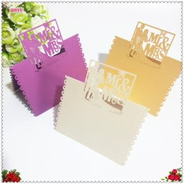 Wholesale Marriage Card Decoration - Wholesale-50pcs Marriage Mr and Mrs Seat Cards Wedding Decoration Laser Cutting Place Name Cards Party Supplies Table Decor 5zSH078
