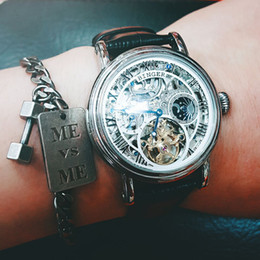 Wholesale Binger Men Watch - Luxury Skeleton Design Moon Phase Watches Relogio Masculino BINGER Automatic Watches For Men Mechanical Clock Leather Strap