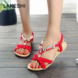 4d1bef11e1aa9 LAKESHI Women Sandals Women Flats Sandals Fashion Flip Flops Shoes  Comfortable Bohemian Women Shoes Casual Ladies Sandals