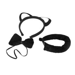 Wholesale cat ear tail - 2017 New Arrival 3pcs Halloween Party Props Black Cat Set Include Headband Ears, Bow Tail And Tie Free Shipping