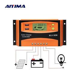 Регулятор 24v онлайн-Ячейки AIYIMA PWM 12 В 24 В 30A Солнечный контроллер ЖК-дисплей Функция Dual USB 5VDC Выход Солнечные батареи Панели Регулятор зарядки аккумулятора