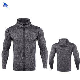 Wholesale grey hooded sweatshirt - 2018 Spring Long Sleeve Mens Running Jacket Fitness Breathable Hooded Sweatshirt Zipper Slim Fit Pullover Hoodies Gym Sportswear