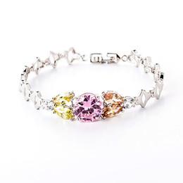 Tage 24k armband online-Elegante Verzierung 24K Kupfer überzogene Armband-süße Zirkon-Kette Valentinstag-Geschenk-Handchian-Schmuck für den Tag der Mutter