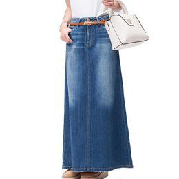 Faldas maxi jeans online-Envío gratis 2018 nueva moda largo Casual Denim Falda primavera A-line más tamaño S-2XL largo faldas largas para mujeres Jeans faldas