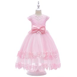 2fb6b16b01c Children s dress European and American lace tube top princess dress fringed  lace bow flower girl wedding dress