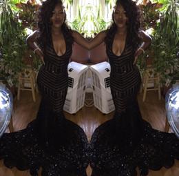 vestidos de formatura Desconto 2018 Sparkly Prom vestidos Backless Sereia Bainha Equipado Preto Lantejoula Colher Noite Formal Longo Mulheres Vestidos
