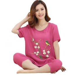 women pijamas cotton Coupons - Women Sleepwear Summer NEW Print 2PCS Nightwear  Cotton Linen Short Sleeve 8f7ebc0bd