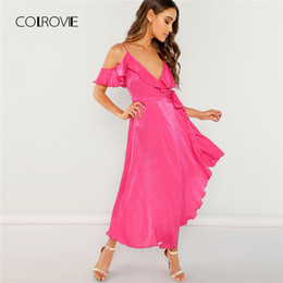 e0e06ac85fb3 COLROVIE Hot Pink Solid Ruffle con cintura fredda spalla asimmetrico Sexy  Dress Women 2018 Autumn Ladies Party Elegante Maxi abiti asimmetrico vestito  club ...