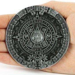 Wholesale Pewter Belt - New Fashion Brand Buckles For Mens New Vintage Pewter Aztec Calendar Circle Belt Buckles Mayan Indian