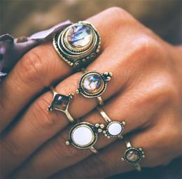 Opal stein finger online-6 teile / los Vintage Geometrische Runde Ring Sets für Frauen Retro Antike Goldfarbe Opal Stein Schild Ring Übertreiben Finger Schmuck YMCJR029