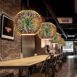 Feux d'artifice en Ligne-Nouveauté balle pendentif en verre lumière moderne suspendu luminaire noël 3d balle conception feu d'artifice lampe led lumières colorées