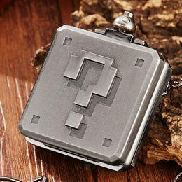 7e9131d7328 Único do vintage quadrado de prata 3d escultura de quartzo relógio de bolso  das mulheres dos homens colar de corrente retro steampunk relógios de bolso  ...
