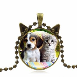 Wholesale Red Dog Christmas Sweater - Cat Dog Face Necklace Cute pet face Pendant Lovely Cat dog Jewelry Glass Dome Pendant Necklace sweater chain