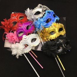 Wholesale Masquerade Masks Sticks - Luxury Diamond Woman Mask On Stick Sexy Eyeline Venetian Masquerade Party Mask Sequin Lace Edge Lateral Flower Gold Silver Black White Color