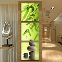 Pintura moderna de bambú online-Arte de la lona Imprimir Marco Moderno 3 Panel de Bambú Verde Pintura Abstracta de la Pared Imágenes Para la Sala de estar Decoración HD Pintura Cartel