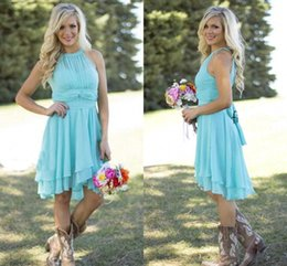 Wholesale Hi Low Style Bridesmaid Dresses - Country Style Short Bridesmaid Dresses Mint 2017 High Low Halter Neck Chiffon Bridesmaid Gowns Ruched Summer Boho Backless Party Dresses