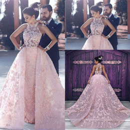 Wholesale Formal Dresses 3d Flowers - Evening Dresses Wear 2018 High Neck Dubai Sexy Pink 3D Floral Flowers Illusion Ball Gown Overskirts Plus Size Formal Party Dress Prom Gowns