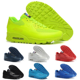 new style 74e18 81986 2018 HY PRM QS 90 Hombres Mujeres Zapatillas para correr 90s HyperS  fusibles Bandera americana Negro Blanco Azul marino Oro Plata Deportivos  deportivos