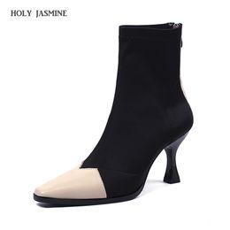 Botas de fios on-line-Botas das mulheres Apontou Toe Fios Elastic Ankle Boots Estilo Estranho Salto Alto Sapatos de Salto Mulher Feminino Meias 2018 Primavera Novo