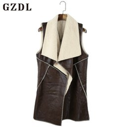 Женские кожаные жилеты онлайн-GZDL Casual Pu Leather Fleece Women Vest Coats Autumn Cardigans Open Stitch Winter Turn-down Collar Vest Jackets Female CL2147