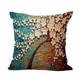 Wholesale Silver Cushions Covers - 3D Painting Cushion Cover Cotton Linen Pillow Case Home Car Decorative Throw Pillow Covers 45x45cm
