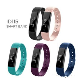Wholesale reminder alarm iphone - ID115 Smart Bracelet Fitness Tracker Step Counter Activity Monitor Wristbands Alarm Clock Vibration Wristband for iphone Android phone