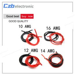 fio de cobre flexível Desconto Cabos de cobre de silicone flexíveis para RC preto + vermelho 2M 10/12/14/16 fio de calibre AWG