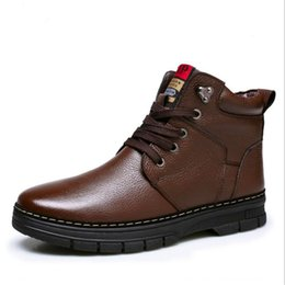 Canada Haut de gamme de mode classique hiver chaud hommes neige bottes avec polaires mode britannique style 100% cuir véritable bottine hommes chaussures imperméables cheap ankle leather boots fleece Offre
