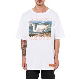 Wholesale Bird Appliques - White Heron T-Shirt For Men Heron Preston Birds Print Short Sleeves Jersey T-Shirts Summer Style Casual Shirts Hip Hop Tees DFYG1215