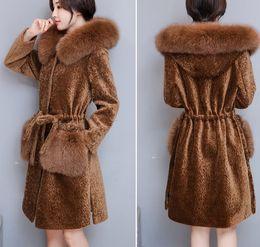 Wholesale Brown Fox Fur Collar - 2017 Winter High Quality Sheared Sheep Jacket with Faux Fox Fur Hooded Cashmere Coat Fashion Plus Size 3XL Women Coats