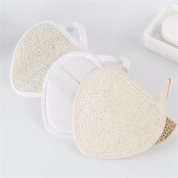 Wholesale Heart Shape Brush - Heart Shaped Luffa Brush Natural Effective Exfoliator Bath Brushs Loofah Towel Bathroom Articles 3 38yh C R