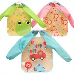 Wholesale Cute Smocks - Wholesale- Cute Cartoon Colorful Baby Bibs Long Sleeve Art Apron Animal Smock Children Bib Burp Clothes Soft Feeding Eat Toddle Waterproof