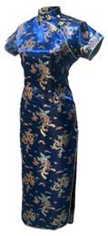 2019 vestido cuello de shangai Shanghai Story Collar mandarín Qipao Vestido chino Patrón de dragón de Phoenix Cheongsam Ropa tradicional Vestido oriental vestido cuello de shangai baratos