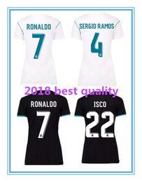 Wholesale Female Tops Sale - Top quality Women home white football 17 18 away female Soccer Shirt 2018 Customized #7 RONALDO girl football uniform Sales